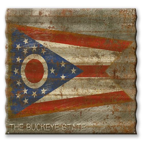 Ohio State Flag Corrugated Metal Sign