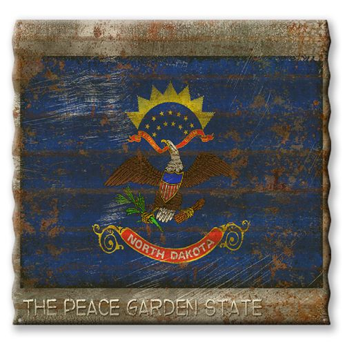 North Dakota State Flag Corrugated Metal Sign