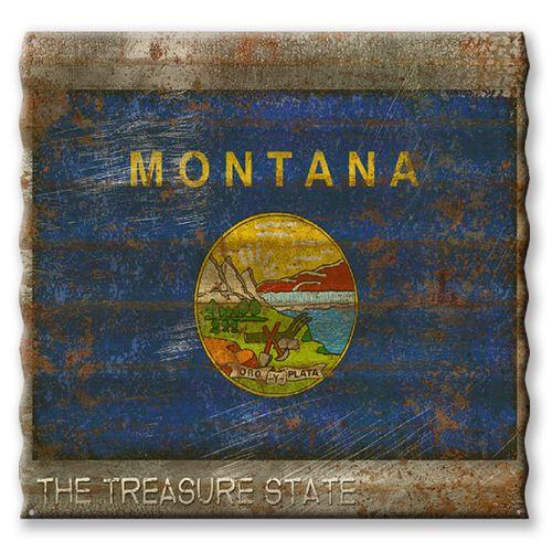 Montana State Flag Corrugated Metal Sign