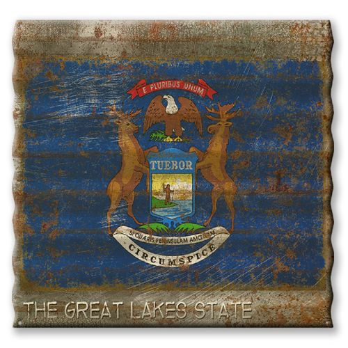 Michigan State Flag Corrugated Metal Sign