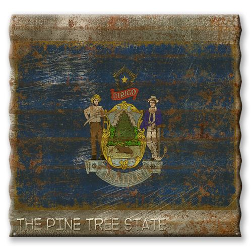 Maine State Flag Corrugated Metal Sign