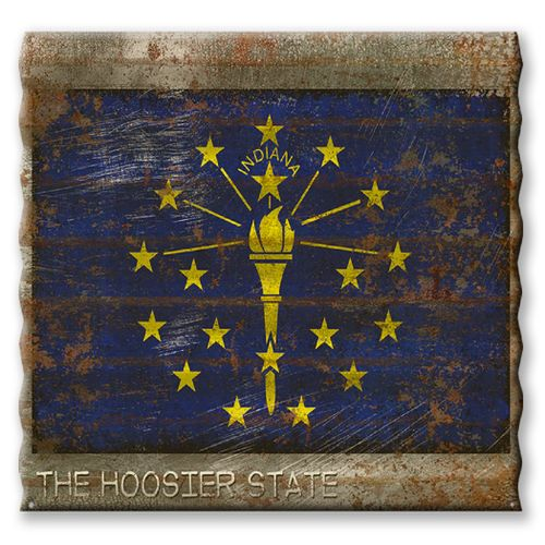 Indiana State Flag Corrugated Metal Sign