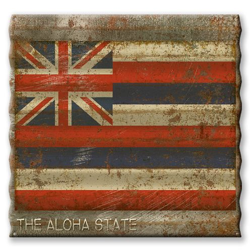 Hawaii State Flag Corrugated Metal Sign