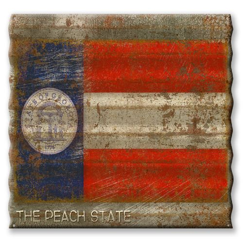 Georgia State Flag Corrugated Metal Sign