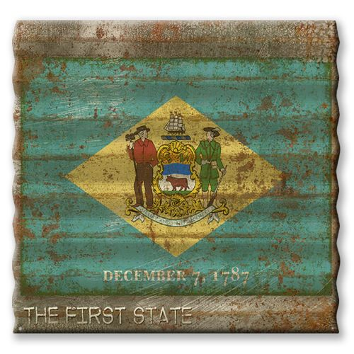 Connecticut State Flag Corrugated Metal Sign