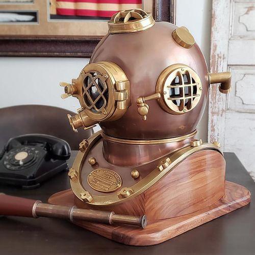 Two Tone Antiqued Diving Helmet Replica