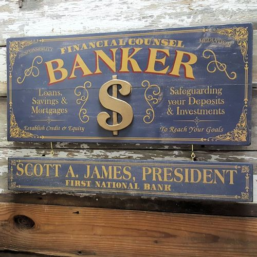Banker Wood Sign with Optional Personalization