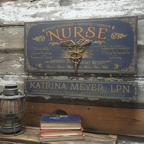 Nurse Wood Sign with Optional Personalization