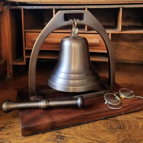 Large Antiqued Brass Desk Bell with Striker - Second