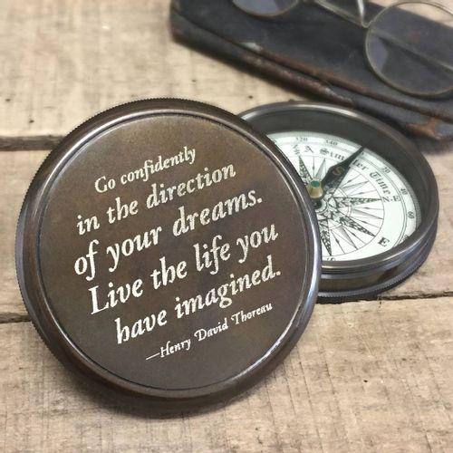 Henry David Thoreau Quote Brass Compass