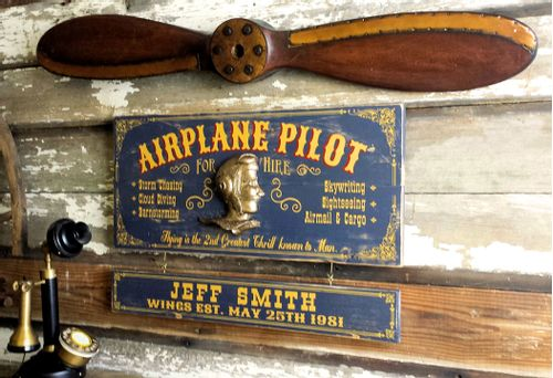Personalized Pilot Sign with 40 Inch Wood Propeller Set