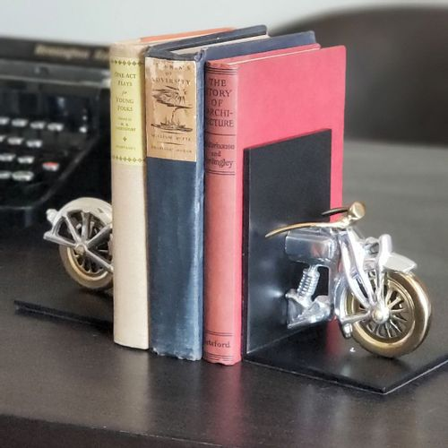 Silver and Brass Motorcycle Bookends