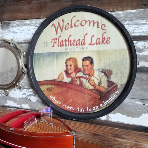 Vintage Welcome Personalized Barrel Lake Sign