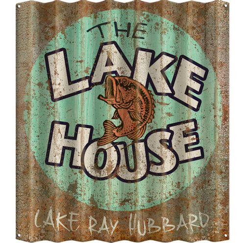 The Lake House Distressed Corrugated Metal Personalized Sign