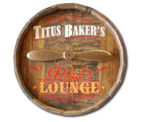Personalized Pilots Lounge Barrel End Sign