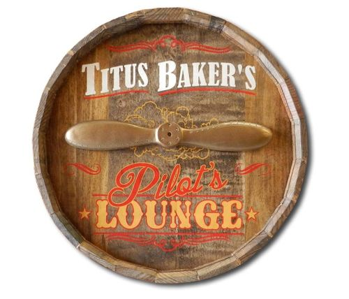 Personalized Pilot's Lounge Barrel End Sign