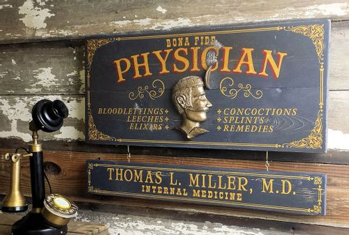 Physician (Male) Wood Plank Sign with Optional Personalization