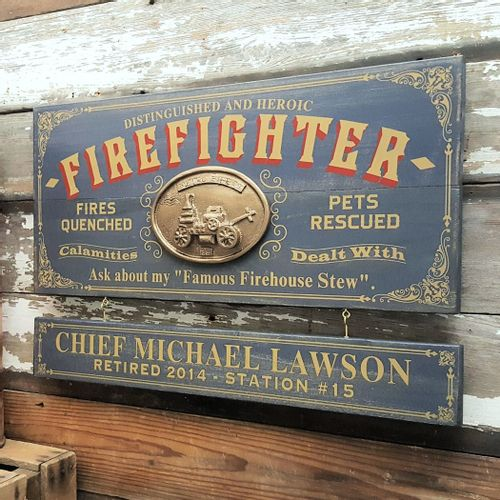 Firefighter Wood Plank Sign with Optional Personalization
