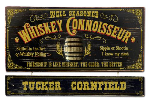 Whiskey Connoisseur Wood Plank Sign with Optional Personalization