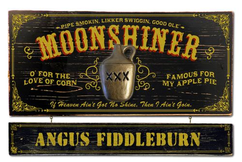 Moonshiner Wood Plank Sign with Optional Personalization