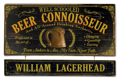 Beer Connoisseur Wood Sign with Optional Personalization
