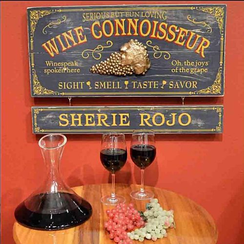 Wine Connoisseur Wood Sign with Optional Personalization