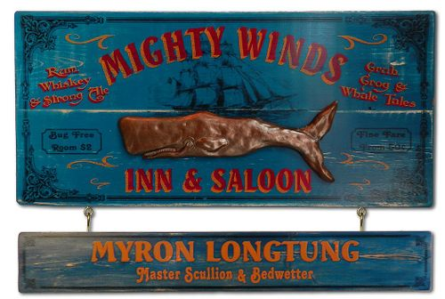 Mighty Winds Inn and Saloon Wood Plank Sign with Personalized Nameboard