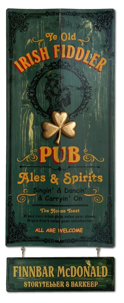 Irish Fiddler Pub Wood Plank Sign with Personalized Nameboard