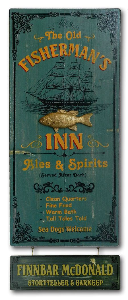 Fishermans Inn Wood Plank Sign With Personalized Nameboard