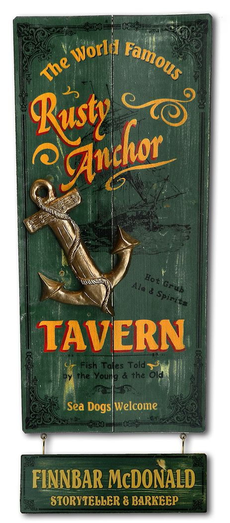 Rusty Anchor Tavern Wood Plank Sign With Personalized Nameboard