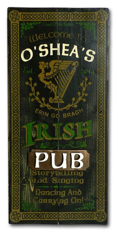 Irish Pub Rustic Wood Plank Personalized Sign