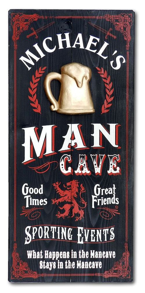 Man Cave Personalized Wood Plank Sign