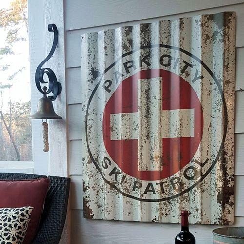 Ski Patrol Corrugated Metal Personalized Cabin Sign