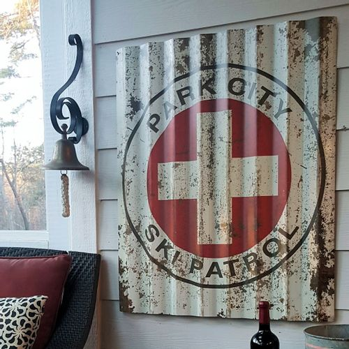 Ski Patrol Corrugated Metal Personalized Cabin Sign