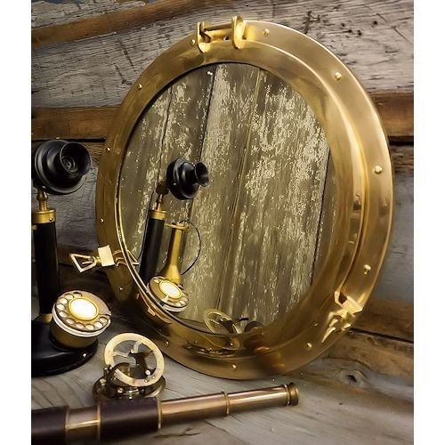 20 Inch Polished Brass Porthole Mirror Second
