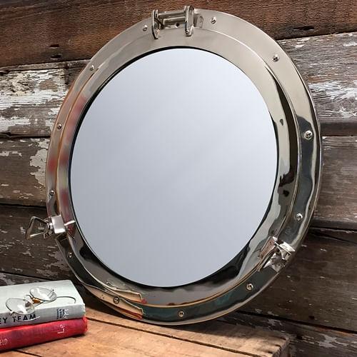 Nickel Finish Solid Brass Porthole Mirror 20 Inch - Second