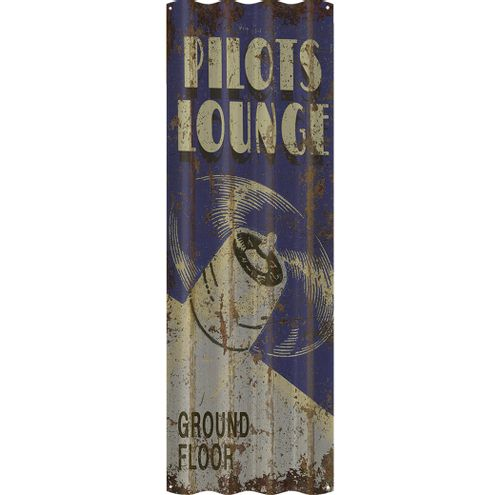 Personalized Pilots Lounge Corrugated Metal Sign
