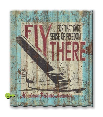 Personalized Fly There Corrugated Metal Sign