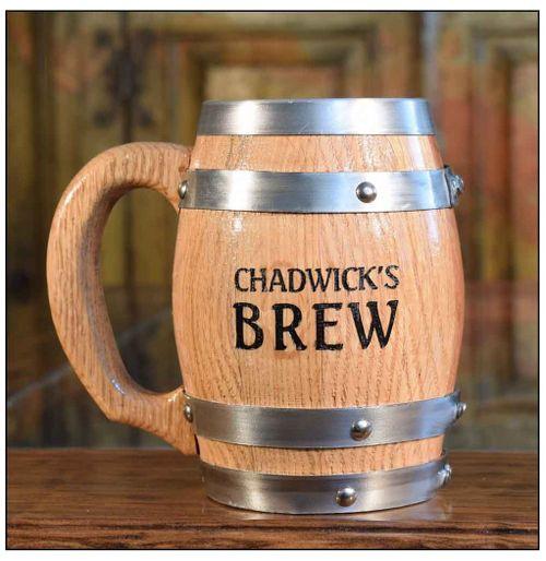 Personalized Oak Barrel Mug