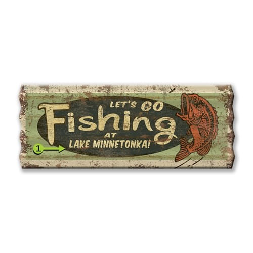 Corrugated Metal Let's Go Fishing Personalized Cabin Sign