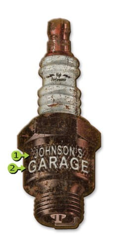 Spark Plug Cut Up Personalized Garage or Man Cave Sign
