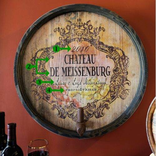 Chateau Personalized Wine Barrel End Bar or Cellar Sign