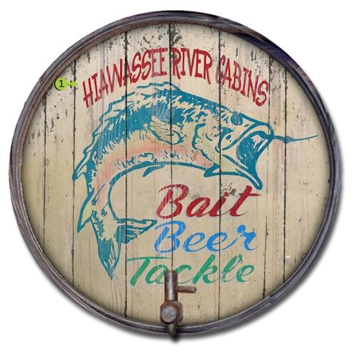 Bait, Beer, and Tackle Custom Barrel End Cabin or Bar Sign