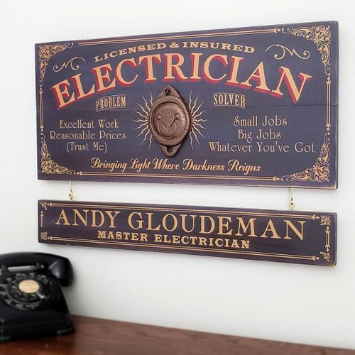 Electrician Wood Sign with Optional Personalization