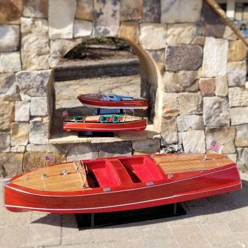 "Large 68"" Chris Craft Barrel Back Boat Model"