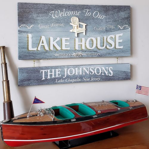 Lake House Wood Sign With Optional Personalization