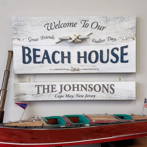 Beach House Wood Sign With Optional Personalization