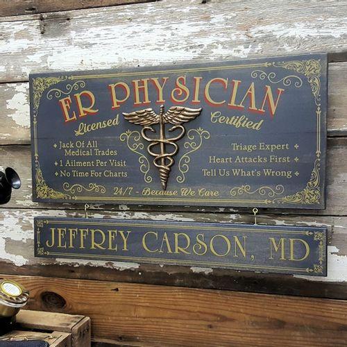 ER Physician Wood Plank Sign