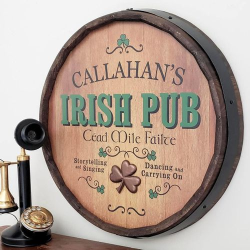 Irish Pub Personalized Barrel End Sign