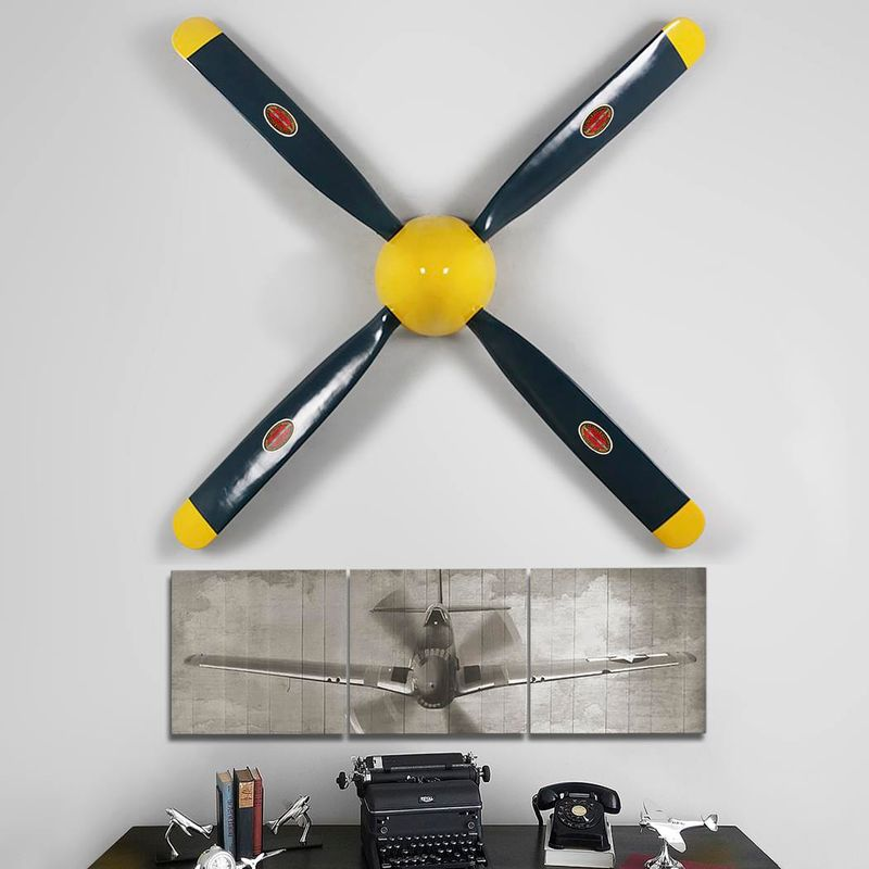 P-51-Mustang-Replica-Propeller-and-55--Triptych-Set-15447